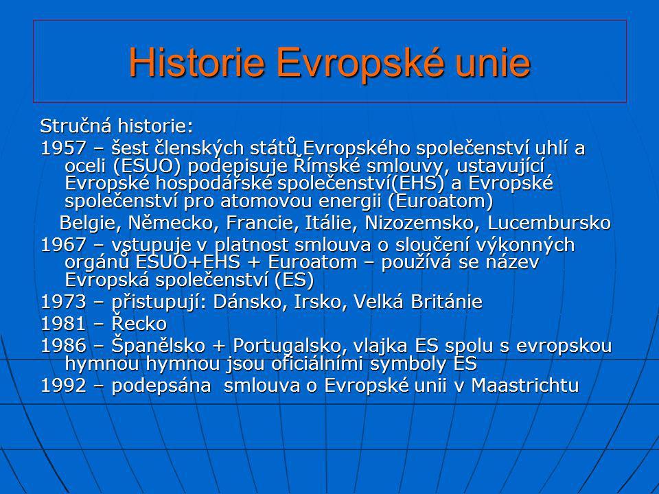 Historie Evropské unie Stručná historie: 1957 – šest členských států Evropského společenství uhlí a oceli (ESUO) podepisuje Římské smlouvy, ustavující