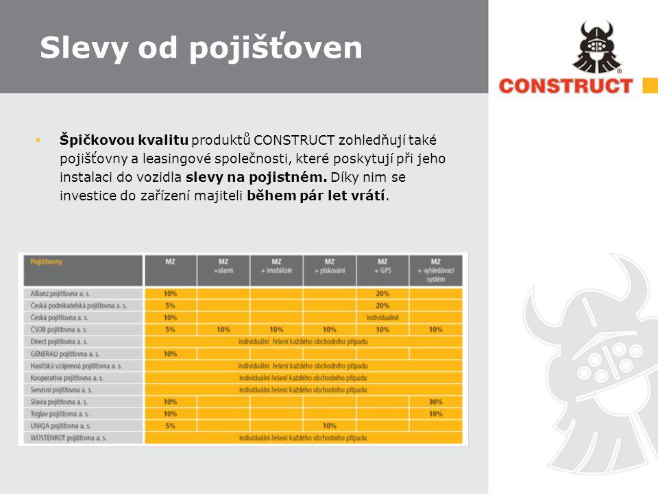 Slevy od pojišťoven  Špičkovou kvalitu produktů CONSTRUCT zohledňují také pojišťovny a leasingové společnosti, které poskytují při jeho instalaci do