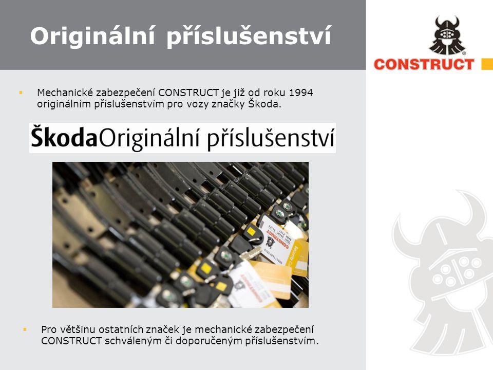 Originální příslušenství  Mechanické zabezpečení CONSTRUCT je již od roku 1994 originálním příslušenstvím pro vozy značky Škoda.  Pro většinu ostatn