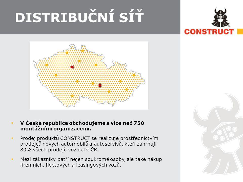 DISTRIBUČNÍ SÍŤ  V České republice obchodujeme s více než 750 montážními organizacemi.  Prodej produktů CONSTRUCT se realizuje prostřednictvím prode