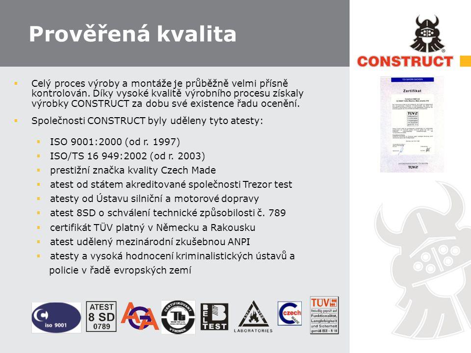 Slevy od pojišťoven  Špičkovou kvalitu produktů CONSTRUCT zohledňují také pojišťovny a leasingové společnosti, které poskytují při jeho instalaci do vozidla slevy na pojistném.