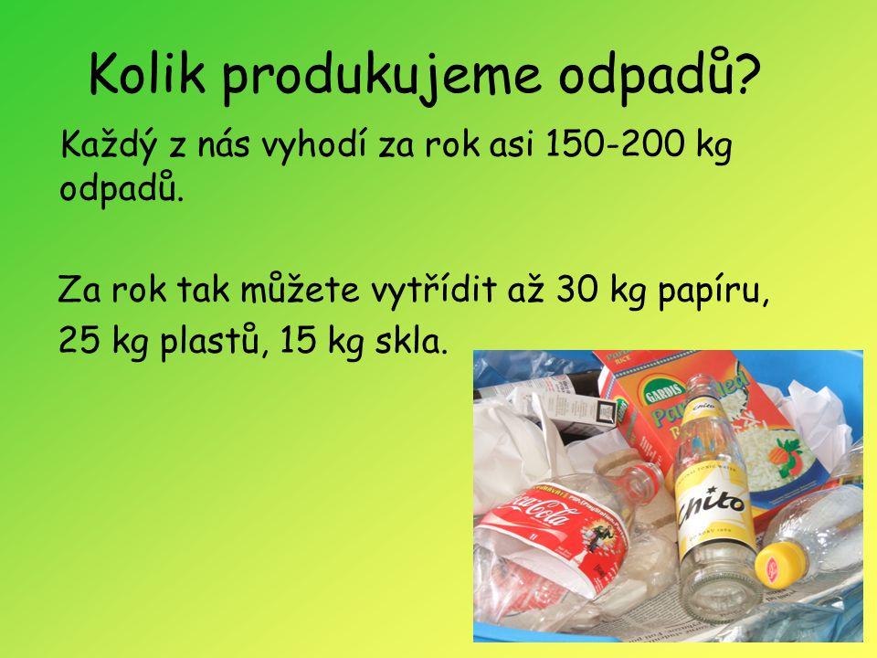 Kolik produkujeme odpadů? Každý z nás vyhodí za rok asi 150-200 kg odpadů. Za rok tak můžete vytřídit až 30 kg papíru, 25 kg plastů, 15 kg skla.