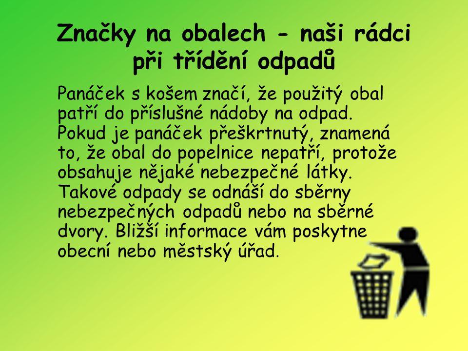 Značky na obalech - naši rádci při třídění odpadů Panáček s košem značí, že použitý obal patří do příslušné nádoby na odpad. Pokud je panáček přeškrtn