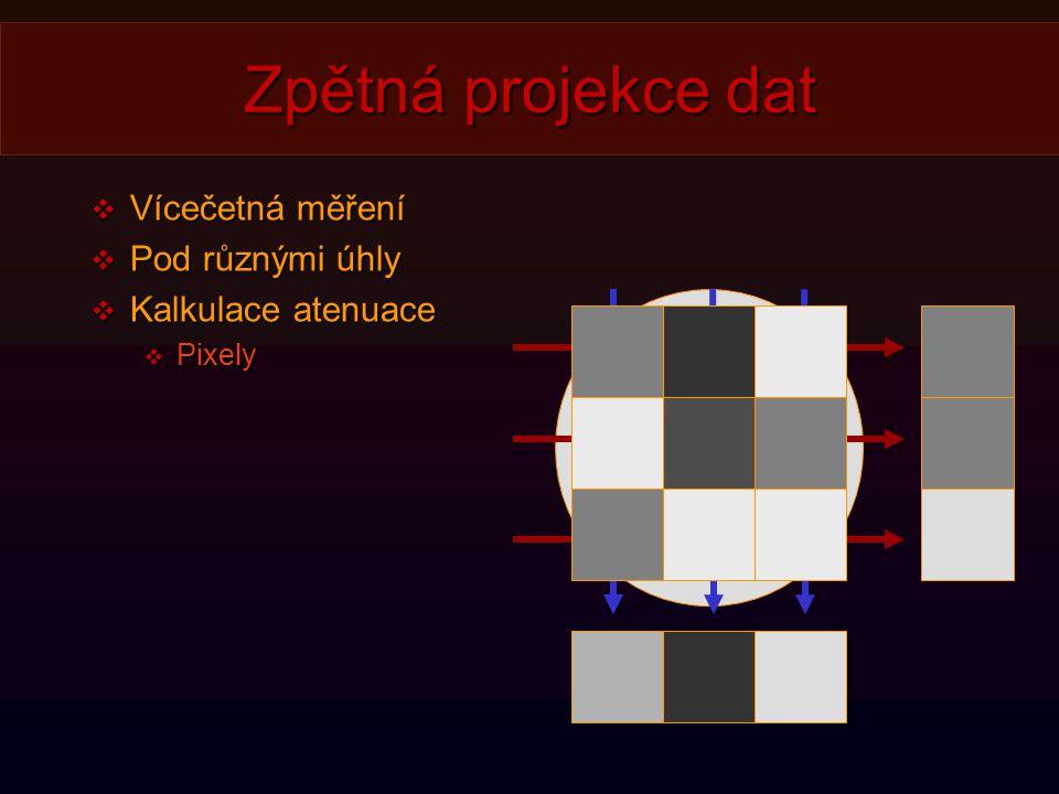 Zpětná projekce dat  Vícečetná měření  Pod různými úhly  Kalkulace atenuace  Pixely