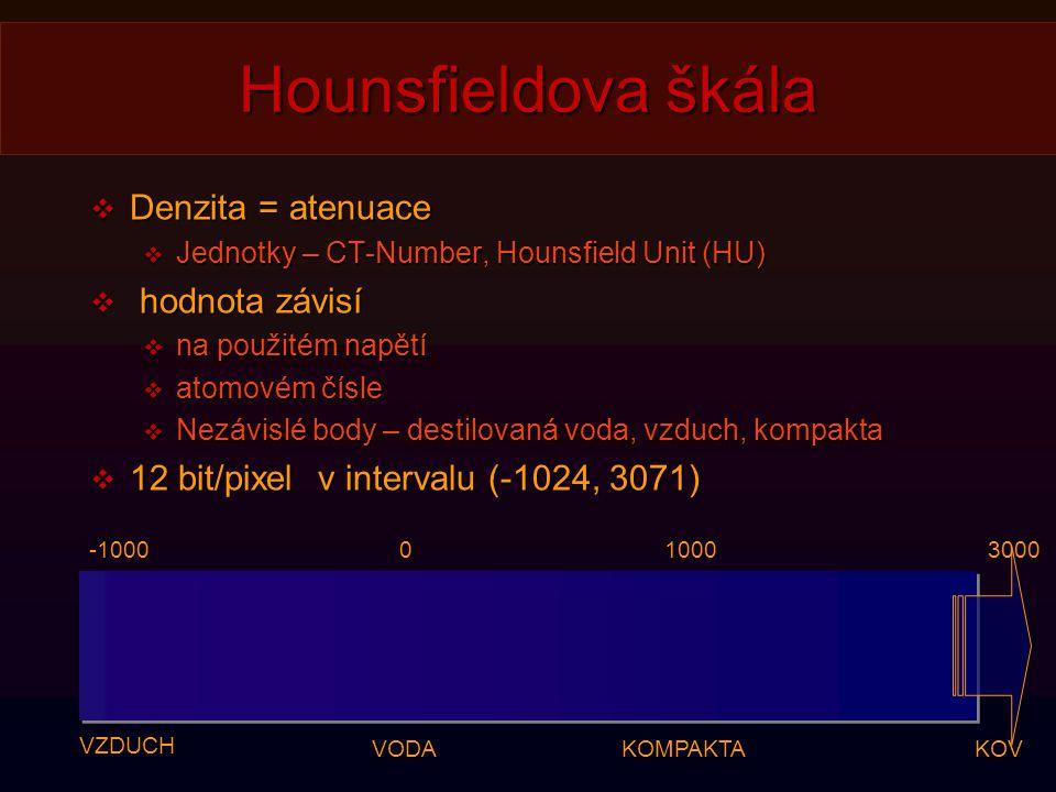 Hounsfieldova škála  Denzita = atenuace  Jednotky – CT-Number, Hounsfield Unit (HU)  hodnota závisí  na použitém napětí  atomovém čísle  Nezávislé body – destilovaná voda, vzduch, kompakta  12 bit/pixel v intervalu (-1024, 3071) VZDUCH VODAKOMPAKTA -100001000 KOV 3000