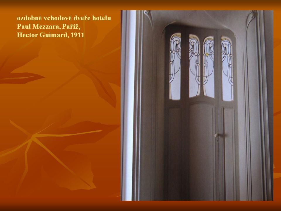 ozdobné vchodové dveře hotelu Paul Mezzara, Paříž, Hector Guimard, 1911