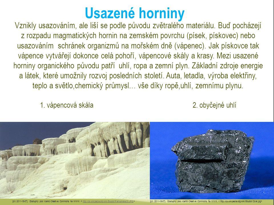 Usazené horniny Vznikly usazováním, ale liší se podle původu zvětralého materiálu. Buď pocházejí z rozpadu magmatických hornin na zemském povrchu (pís