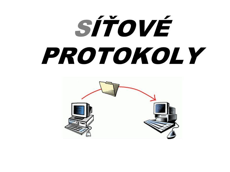 Síťové protokoly •Jedná se o konvenci, která stanovuje způsob (protokol), jak budou počítače mezi sebou komunikovat v síti •Momentálně existují 2 základní specifikace: –TCP/IP od společnosti ITU (International Telecommunication Union)TCP/IP –ISO/OSI od společnosti ISO (International Organization for Standardization)ISO/OSI