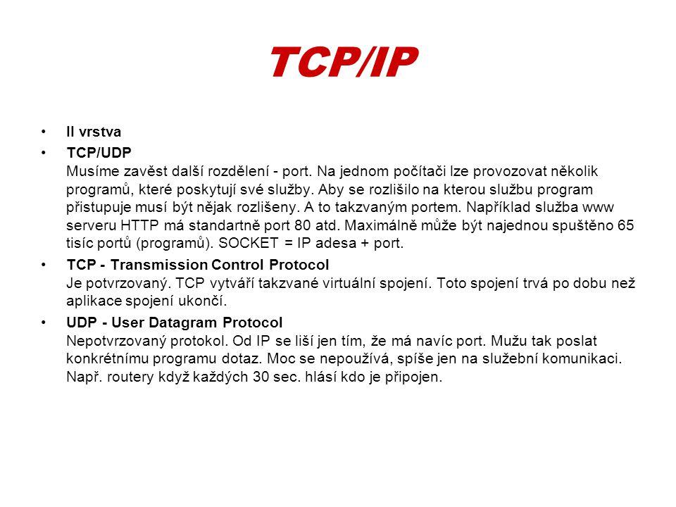 TCP/IP •II vrstva •TCP/UDP Musíme zavěst další rozdělení - port. Na jednom počítači lze provozovat několik programů, které poskytují své služby. Aby s