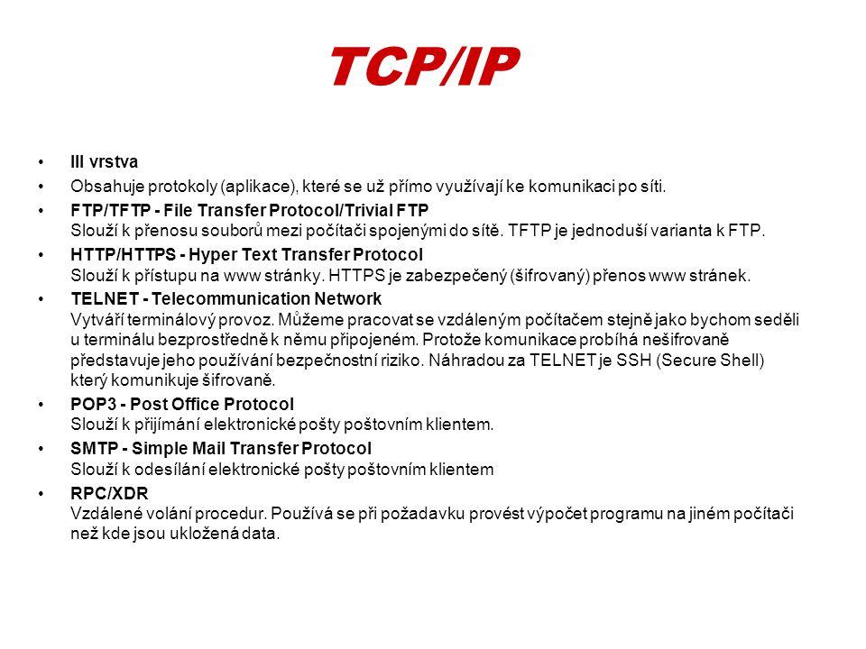 •III vrstva •Obsahuje protokoly (aplikace), které se už přímo využívají ke komunikaci po síti. •FTP/TFTP - File Transfer Protocol/Trivial FTP Slouží k