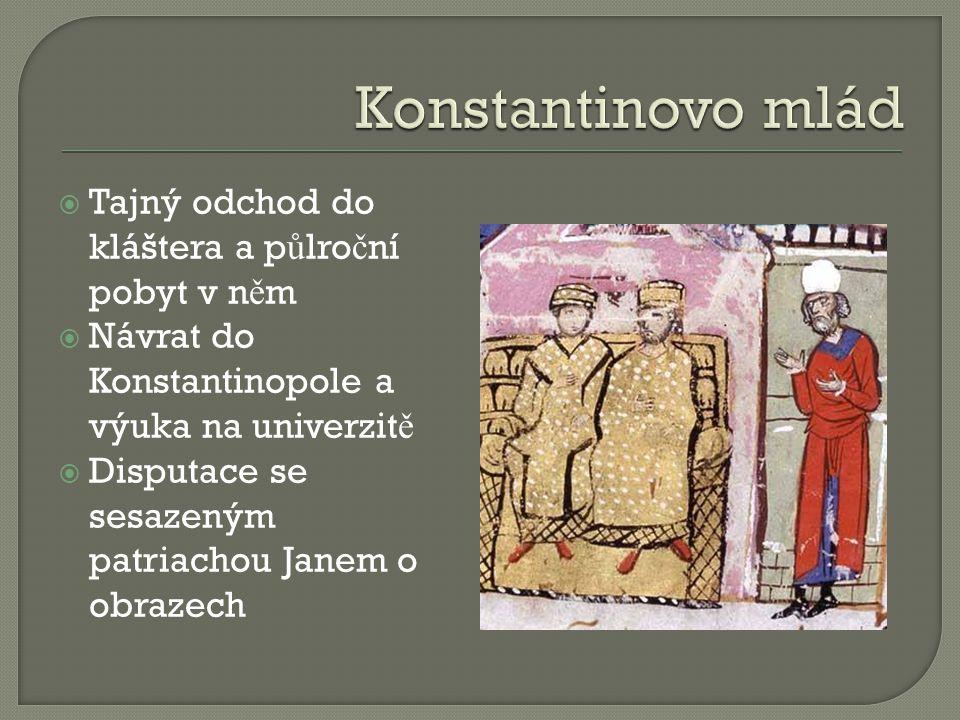  Tajný odchod do kláštera a p ů lro č ní pobyt v n ě m  Návrat do Konstantinopole a výuka na univerzit ě  Disputace se sesazeným patriachou Janem o obrazech