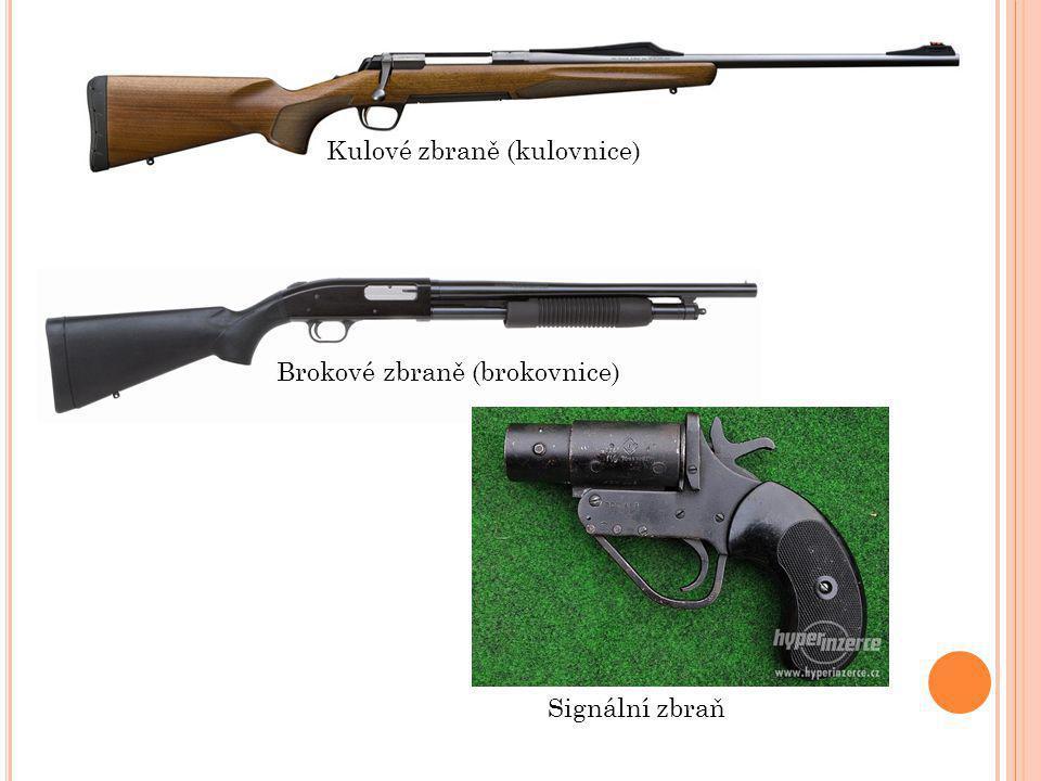 Kulové zbraně (kulovnice) Brokové zbraně (brokovnice) Signální zbraň
