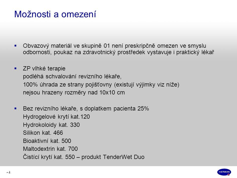 • 4  Obvazový materiál ve skupině 01 není preskripčně omezen ve smyslu odbornosti, poukaz na zdravotnický prostředek vystavuje i praktický lékař  ZP vlhké terapie podléhá schvalování revizního lékaře, 100% úhrada ze strany pojišťovny (existují výjimky viz níže) nejsou hrazeny rozměry nad 10x10 cm  Bez revizního lékaře, s doplatkem pacienta 25% Hydrogelové krytí kat.120 Hydrokoloidy kat.
