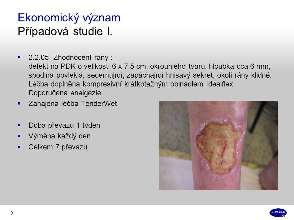 • 9  2.2.05- Zhodnocení rány : defekt na PDK o velikosti 6 x 7,5 cm, okrouhlého tvaru, hloubka cca 6 mm, spodina povleklá, secernující, zapáchající hnisavý sekret, okolí rány klidné.