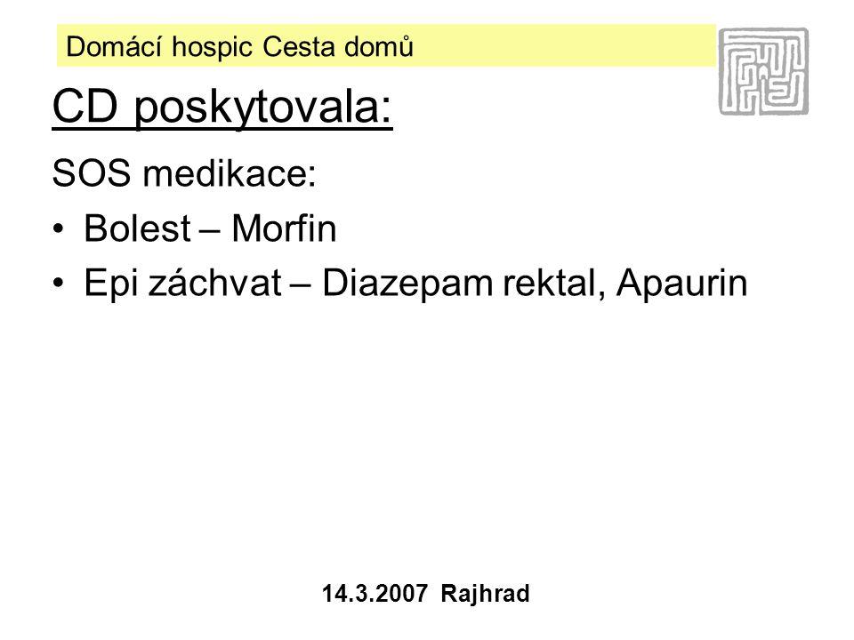 Domácí hospic Cesta domů 14.3.2007 Rajhrad SOS medikace: •Bolest – Morfin •Epi záchvat – Diazepam rektal, Apaurin CD poskytovala: