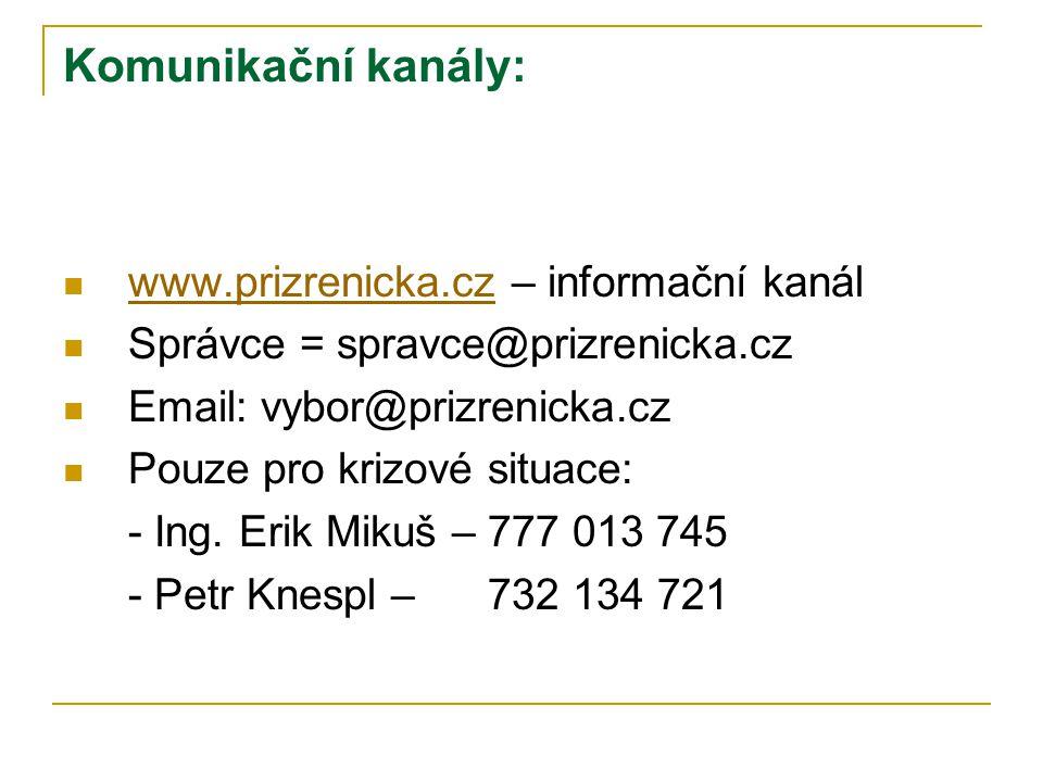 Komunikační kanály:  www.prizrenicka.cz – informační kanál www.prizrenicka.cz  Správce = spravce@prizrenicka.cz  Email: vybor@prizrenicka.cz  Pouz