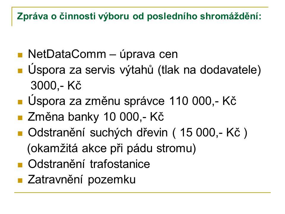 Zpráva o činnosti výboru od posledního shromáždění:  NetDataComm – úprava cen  Úspora za servis výtahů (tlak na dodavatele) 3000,- Kč  Úspora za zm