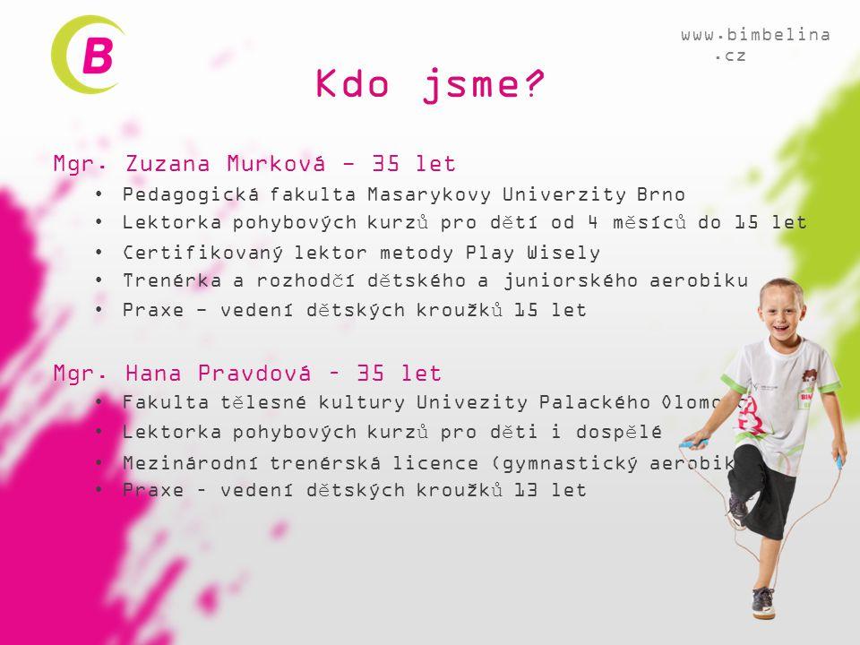 Kdo jsme? Mgr. Zuzana Murková - 35 let •Pedagogická fakulta Masarykovy Univerzity Brno •Lektorka pohybových kurzů pro dětí od 4 měsíců do 15 let •Cert
