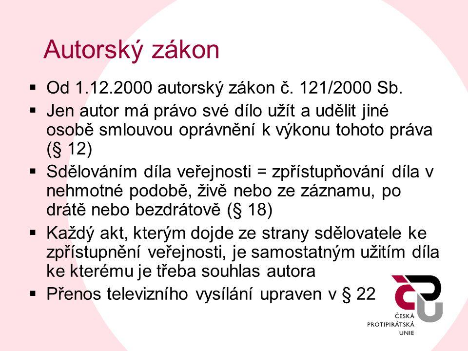 Autorský zákon  Od 1.12.2000 autorský zákon č. 121/2000 Sb.  Jen autor má právo své dílo užít a udělit jiné osobě smlouvou oprávnění k výkonu tohoto