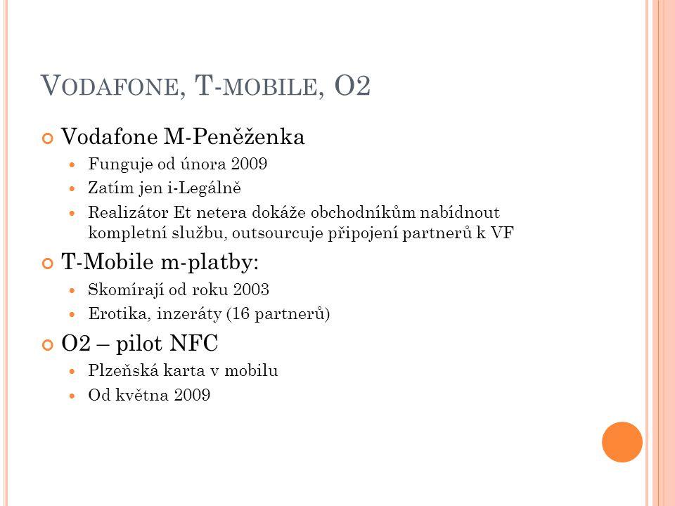 V ODAFONE, T- MOBILE, O2 Vodafone M-Peněženka  Funguje od února 2009  Zatím jen i-Legálně  Realizátor Et netera dokáže obchodníkům nabídnout kompletní službu, outsourcuje připojení partnerů k VF T-Mobile m-platby:  Skomírají od roku 2003  Erotika, inzeráty (16 partnerů) O2 – pilot NFC  Plzeňská karta v mobilu  Od května 2009