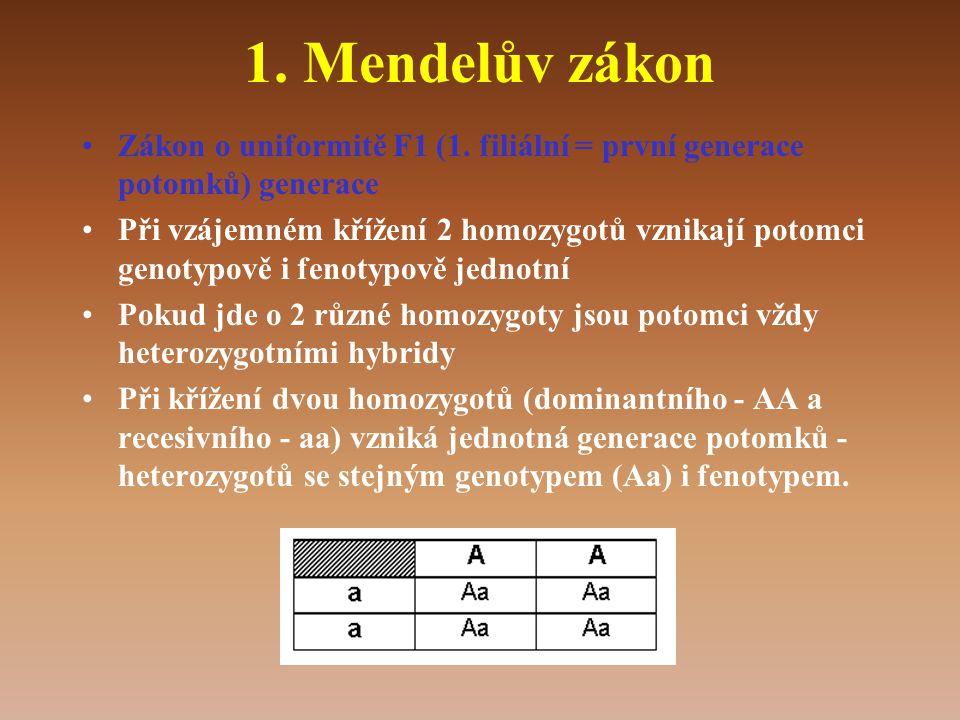 1.Mendelův zákon •Zákon o uniformitě F1 (1.