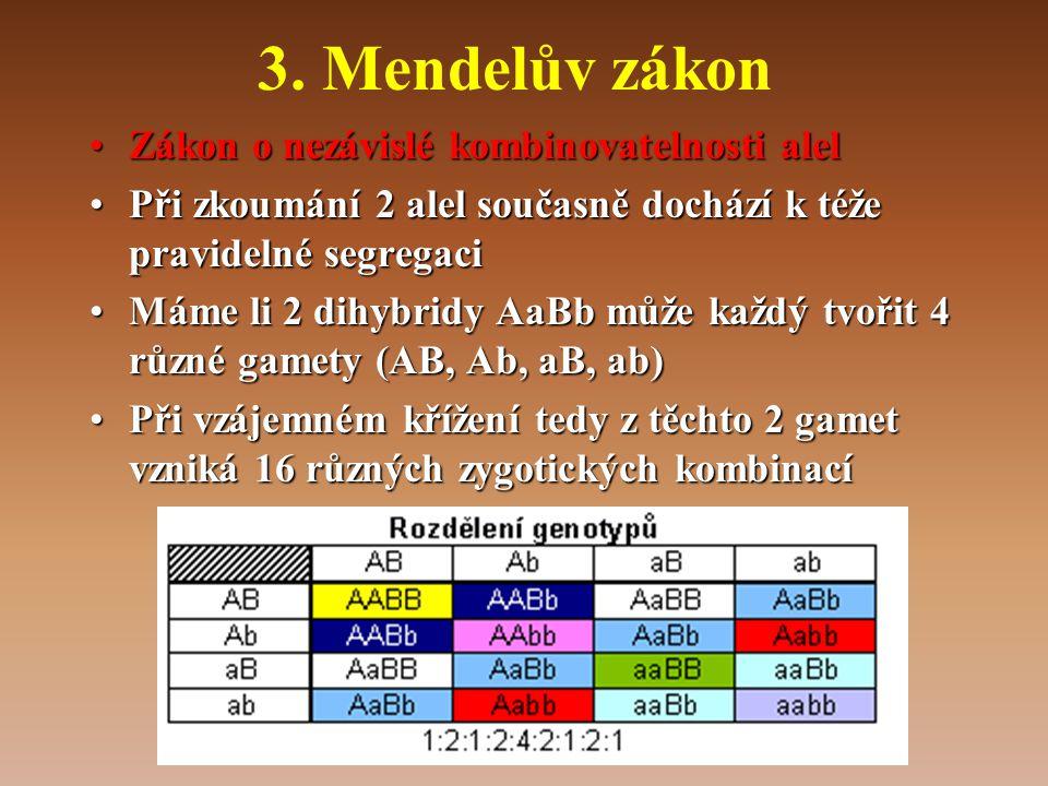 3. Mendelův zákon •Zákon o nezávislé kombinovatelnosti alel •Při zkoumání 2 alel současně dochází k téže pravidelné segregaci •Máme li 2 dihybridy AaB