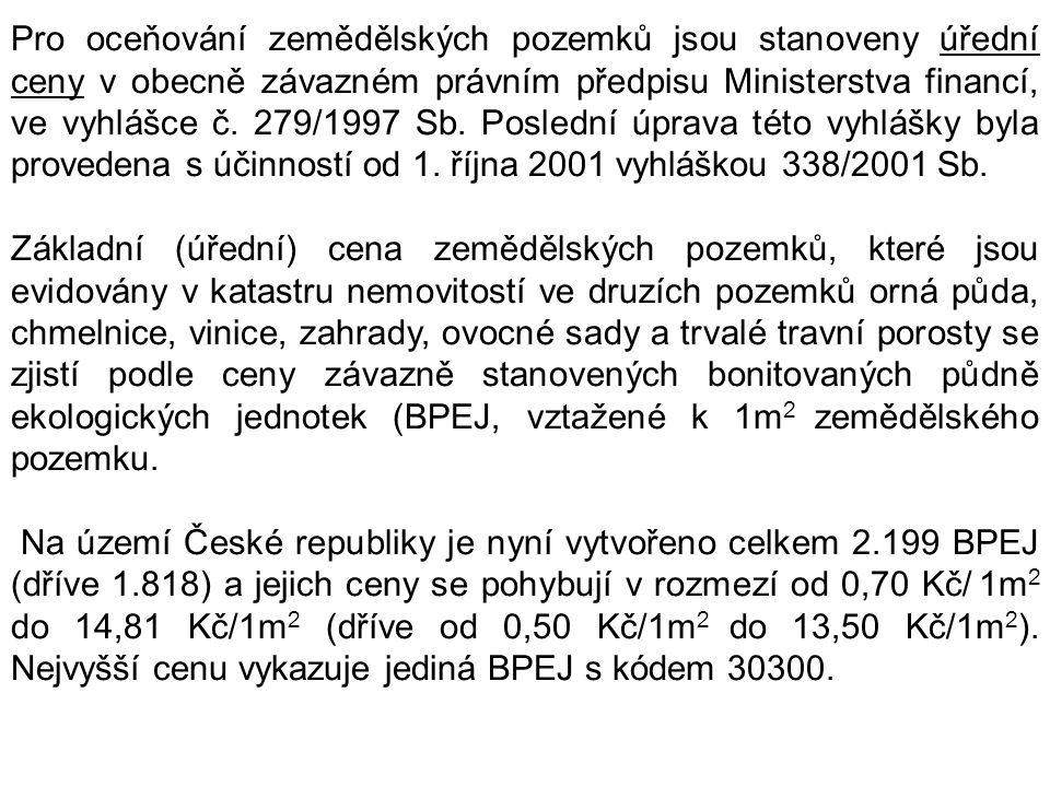 Pro oceňování zemědělských pozemků jsou stanoveny úřední ceny v obecně závazném právním předpisu Ministerstva financí, ve vyhlášce č. 279/1997 Sb. Pos