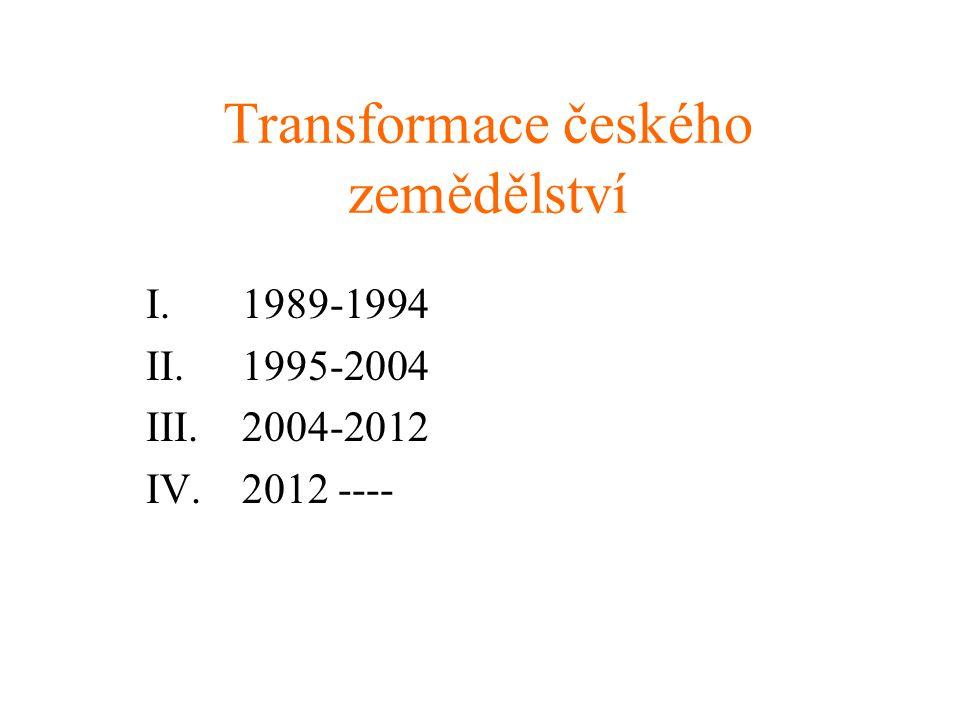Transformace českého zemědělství I. 1989-1994 II. 1995-2004 III. 2004-2012 IV. 2012 ----