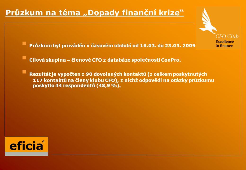 """Průzkum na téma """"Dopady finanční krize  Průzkum byl prováděn v časovém období od 16.03."""