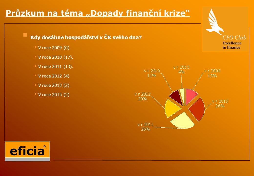  Kdy dosáhne hospodářství v ČR svého dna.  V roce 2009 (6).