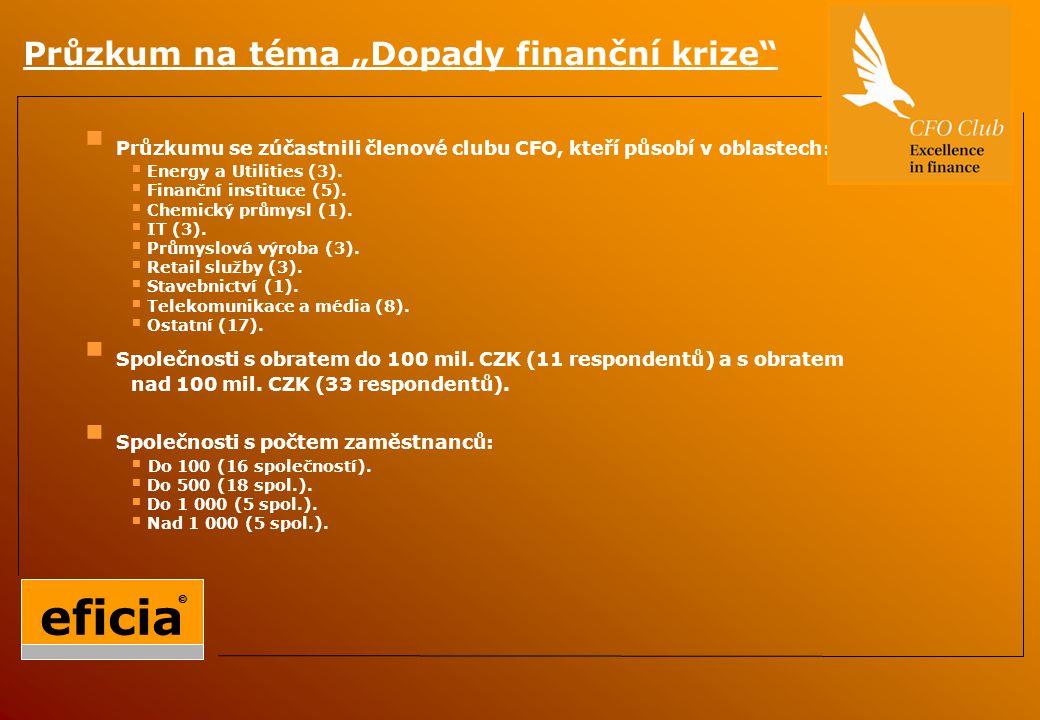 """Průzkum na téma """"Dopady finanční krize  Průzkumu se zúčastnili členové clubu CFO, kteří působí v oblastech:  Energy a Utilities (3)."""
