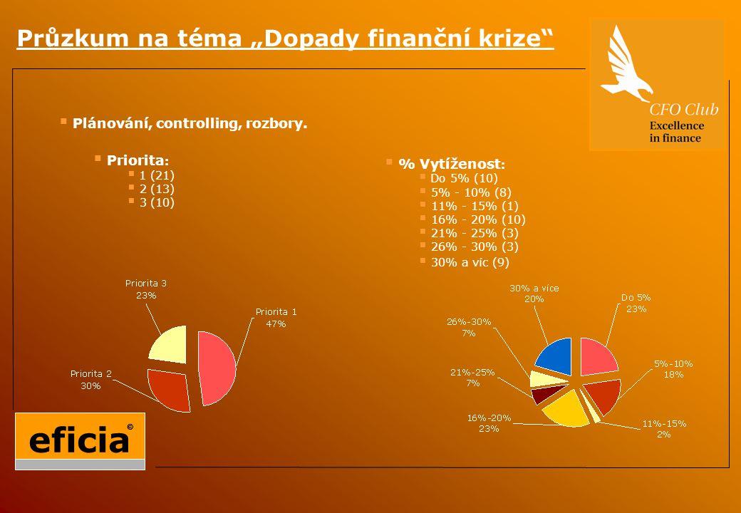 """Průzkum na téma """"Dopady finanční krize  Plánování, controlling, rozbory."""