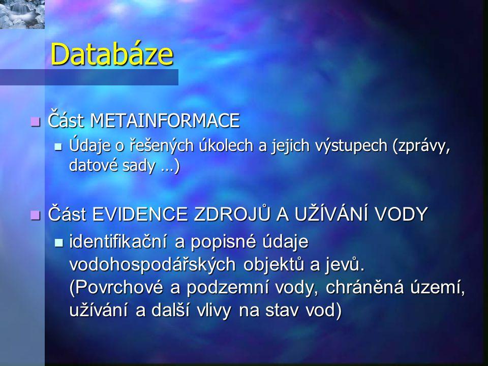 Databáze  Část METAINFORMACE  Údaje o řešených úkolech a jejich výstupech (zprávy, datové sady …)  Část EVIDENCE ZDROJŮ A UŽÍVÁNÍ VODY  identifika