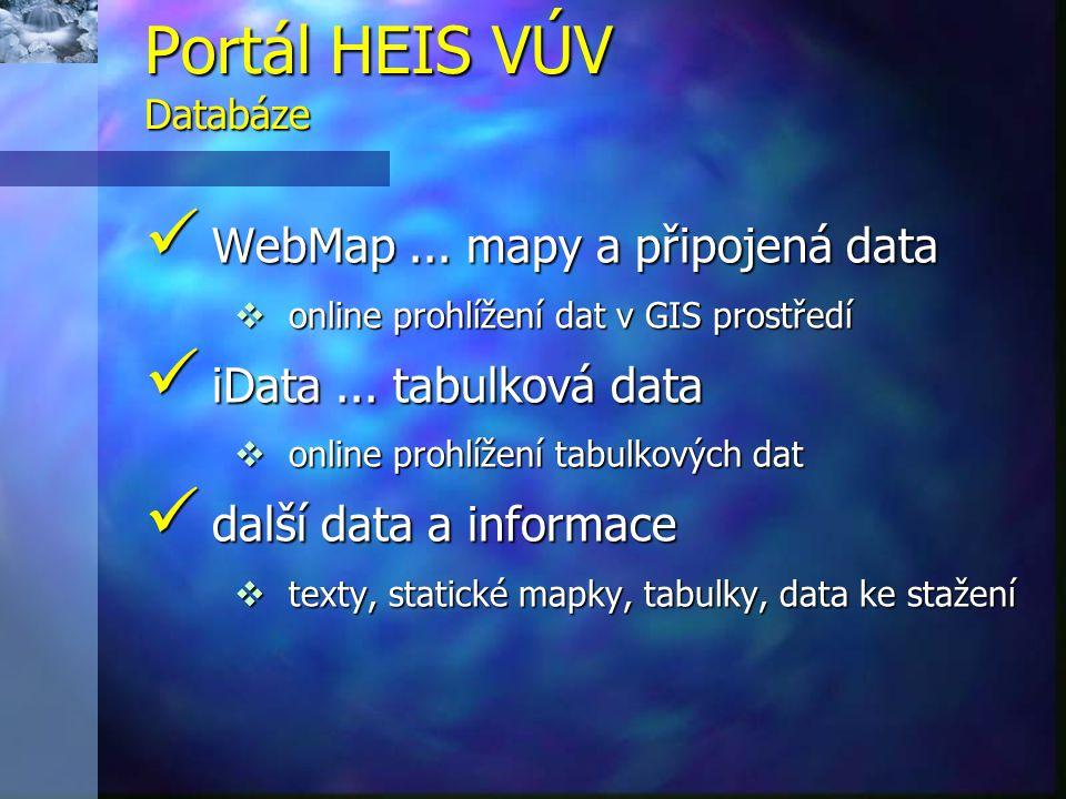  WebMap... mapy a připojená data  online prohlížení dat v GIS prostředí  iData... tabulková data  online prohlížení tabulkových dat  další data a