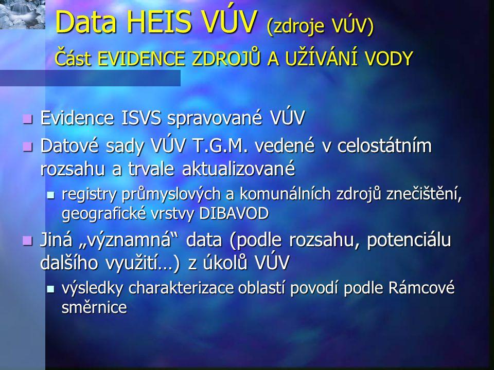 Data HEIS VÚV (zdroje VÚV) Část EVIDENCE ZDROJŮ A UŽÍVÁNÍ VODY  Evidence ISVS spravované VÚV  Datové sady VÚV T.G.M. vedené v celostátním rozsahu a