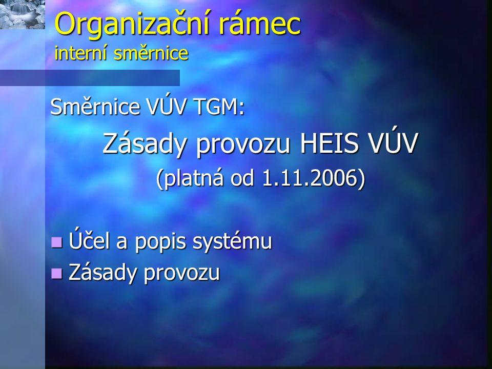 Organizační rámec interní směrnice Směrnice VÚV TGM: Zásady provozu HEIS VÚV (platná od 1.11.2006)  Účel a popis systému  Zásady provozu