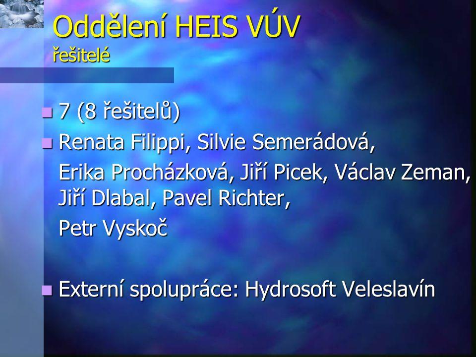 Oddělení HEIS VÚV řešitelé  7 (8 řešitelů)  Renata Filippi, Silvie Semerádová, Erika Procházková, Jiří Picek, Václav Zeman, Jiří Dlabal, Pavel Richt