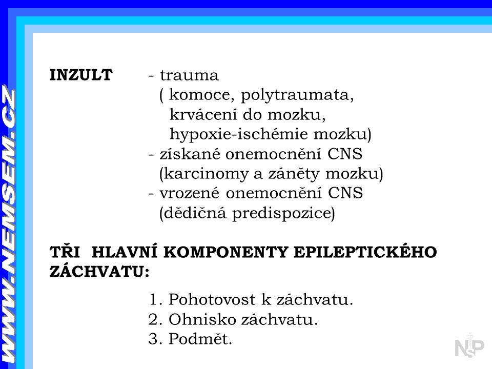 INZULT - trauma ( komoce, polytraumata, krvácení do mozku, hypoxie-ischémie mozku) - získané onemocnění CNS (karcinomy a záněty mozku) - vrozené onemo