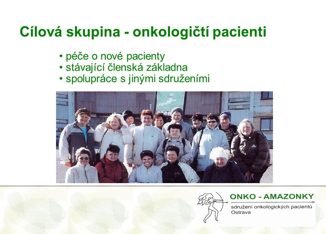 Cílová skupina - onkologičtí pacienti • péče o nové pacienty • stávající členská základna • spolupráce s jinými sdruženími
