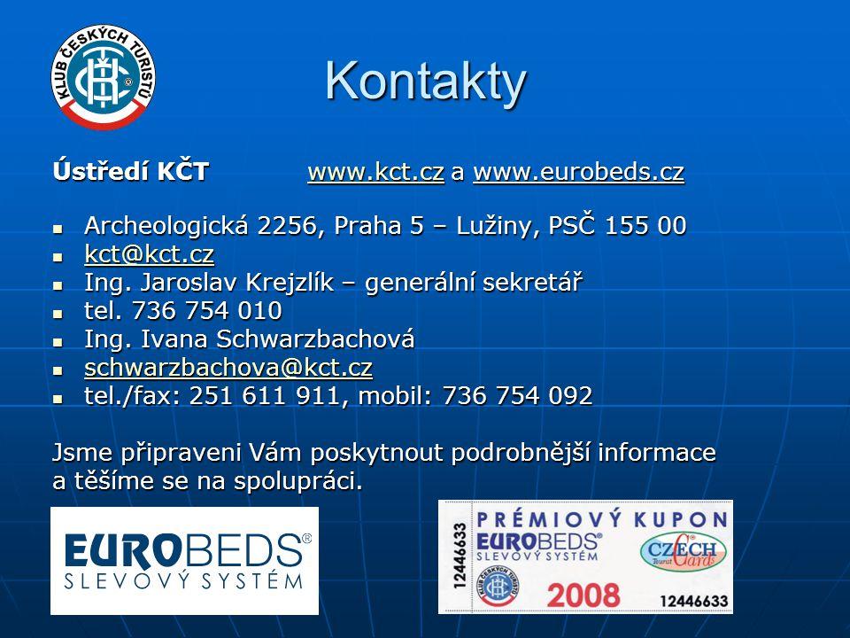 Kontakty Ústředí KČTwww.kct.cz a www.eurobeds.cz www.kct.cz  Archeologická 2256, Praha 5 – Lužiny, PSČ 155 00  kct@kct.cz kct@kct.cz  Ing.