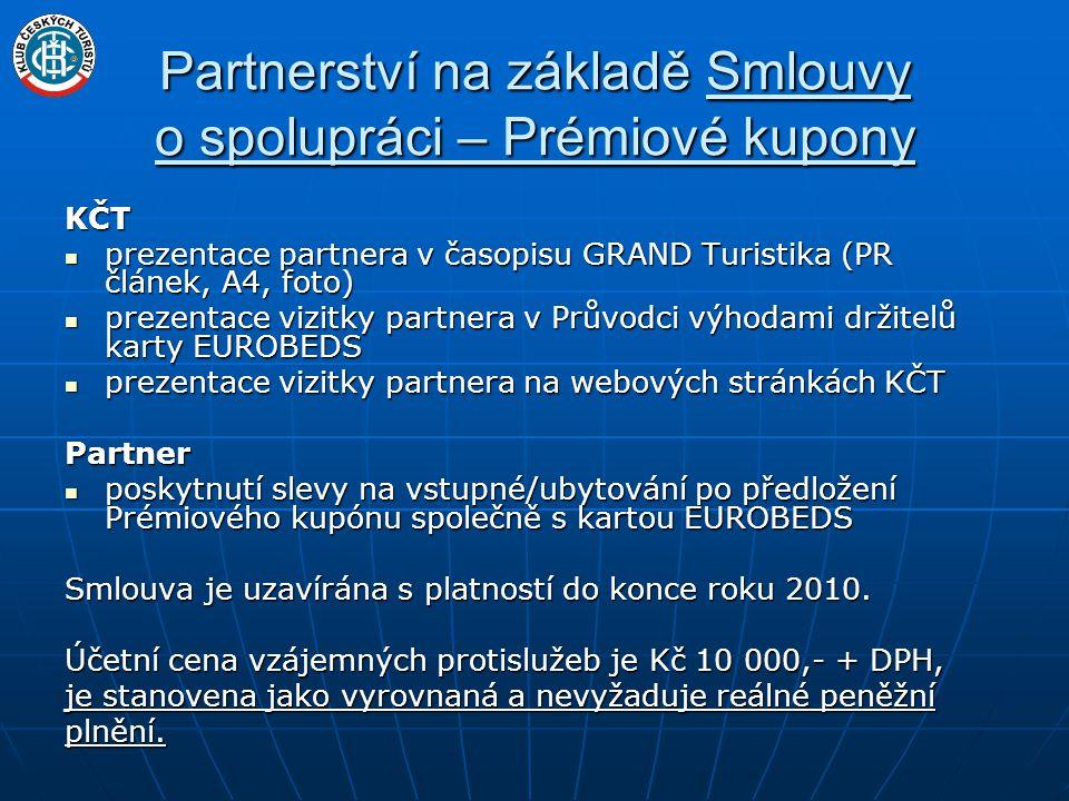 Partnerství na základě Registračního listu smluvního partnera EUROBEDS KČT  řádková inzerce v tiskových materiálech KČT (Průvodce výhodami držitelů karty EUROBEDS, Kalendáře akcí)  řádková inzerce na webových stránkách KČT Partner  sleva poskytovaná v % na veškerý nebo vybraný sortiment po předložení karty EUROBEDS  cena za řádkovou registraci Kč 300,- (včetně zveřejnění www stránek)  příplatek za lokalizaci v mapovém serveru Kč 100,-  registrace ZDARMA – pro zařízení v majetku obcí, měst a krajských úřadů a krajských úřadů Pozn.: Uvedené ceny jsou konečné (vč.