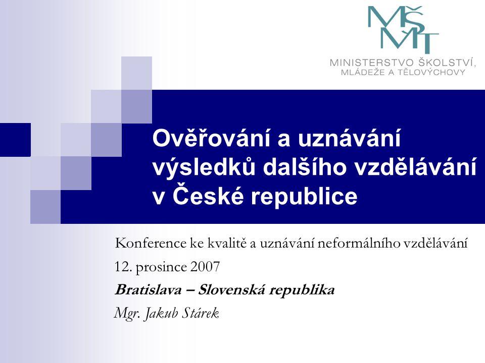 Ověřování a uznávání výsledků dalšího vzdělávání v České republice Konference ke kvalitě a uznávání neformálního vzdělávání 12.