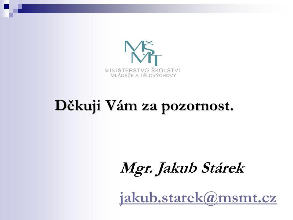 Děkuji Vám za pozornost. Mgr. Jakub Stárek jakub.starek@msmt.cz