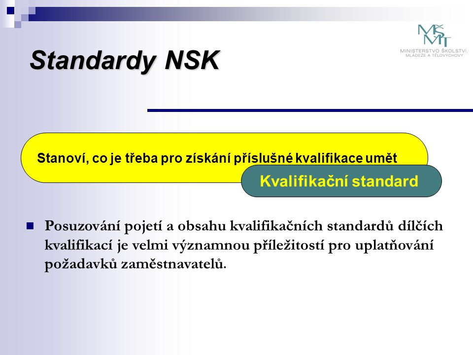 Standardy NSK  Kritéria musí umožňovat jednoznačné ověření, zda zkoušený má příslušnou kompetenci  Je třeba zvažovat i reálnost ověření jak z hlediska technického, tak ekonomického  Posoudit navrhované požadavky na odbornou způsobilost autorizovaných osob (+ návrhy a doplnění)  Posoudit navrhované požadavky na materiálně technické zabezpečení (+ návrhy a doplnění) Stanoví kritéria a postupy pro ověřování požadavků kvalifikačního standardu Hodnotící standard