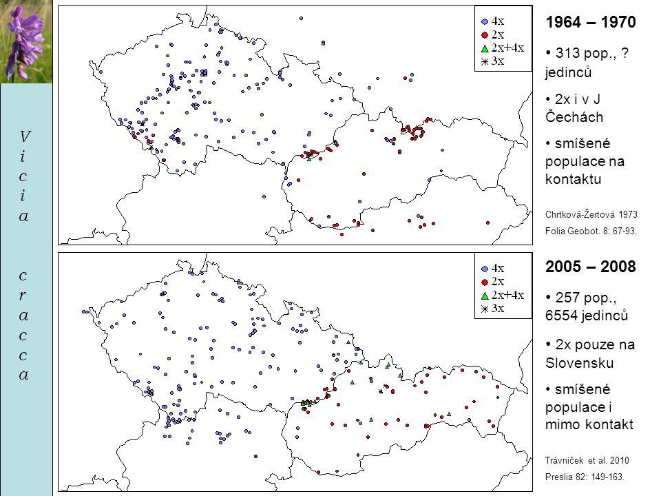ViciacraccaViciacracca 1964 – 1970 • 313 pop., ? jedinců • 2x i v J Čechách • smíšené populace na kontaktu Chrtková-Žertová 1973 Folia Geobot. 8: 67-9