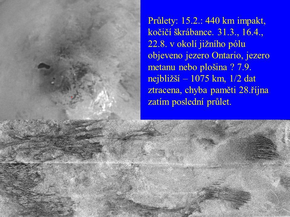 Průlety: 15.2.: 440 km impakt, kočičí škrábance. 31.3., 16.4., 22.8. v okolí jižního pólu objeveno jezero Ontario, jezero metanu nebo plošina ? 7.9. n