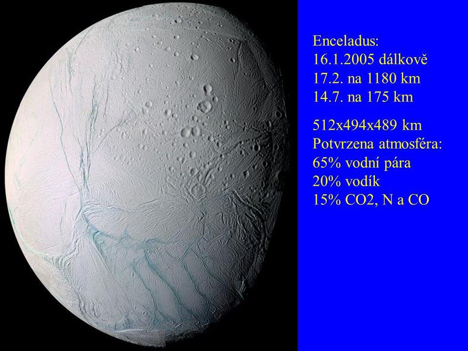Enceladus: 16.1.2005 dálkově 17.2. na 1180 km 14.7. na 175 km 512x494x489 km Potvrzena atmosféra: 65% vodní pára 20% vodík 15% CO2, N a CO