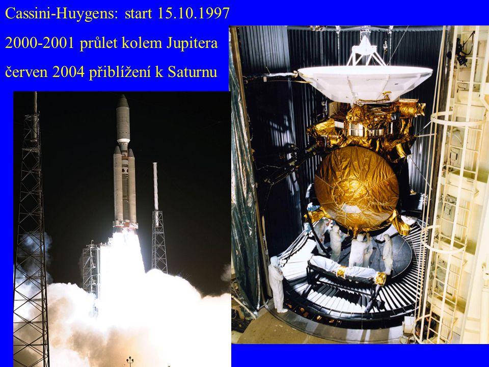 Cassini-Huygens: start 15.10.1997 2000-2001 průlet kolem Jupitera červen 2004 přiblížení k Saturnu