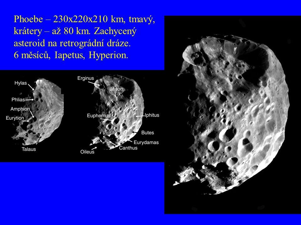 Phoebe – 230x220x210 km, tmavý, krátery – až 80 km. Zachycený asteroid na retrográdní dráze. 6 měsíců, Iapetus, Hyperion.