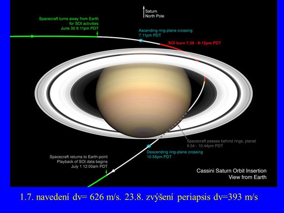1.7. navedení dv= 626 m/s. 23.8. zvýšení periapsis dv=393 m/s